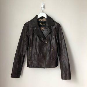 Brown Moto GENUINE Leather Jacket